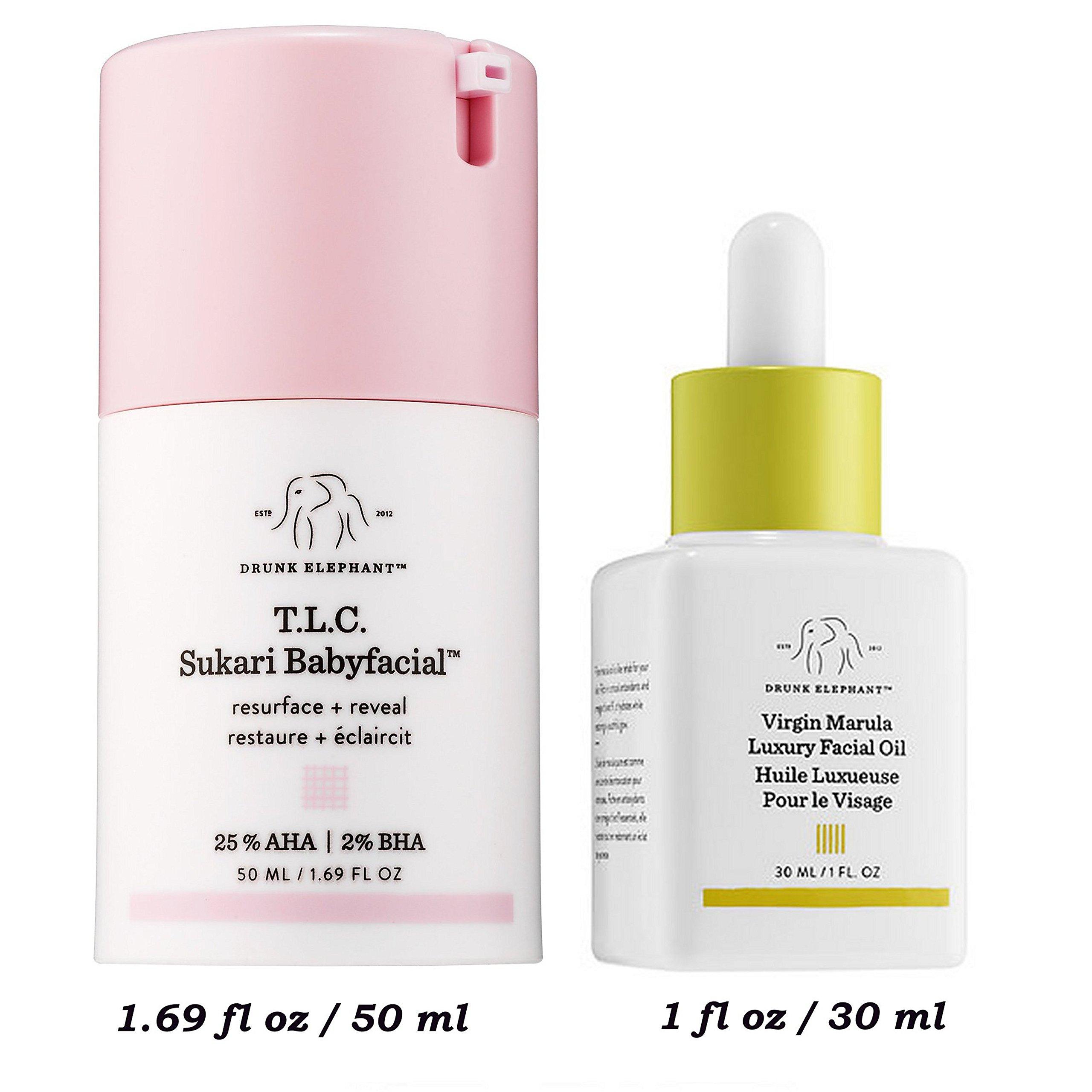 Drunk Elephant TLC Sukari Babyfacial AHA BHA Peel 1.69 fl oz/ 50ml + Marula Oil 1 0z/30ml