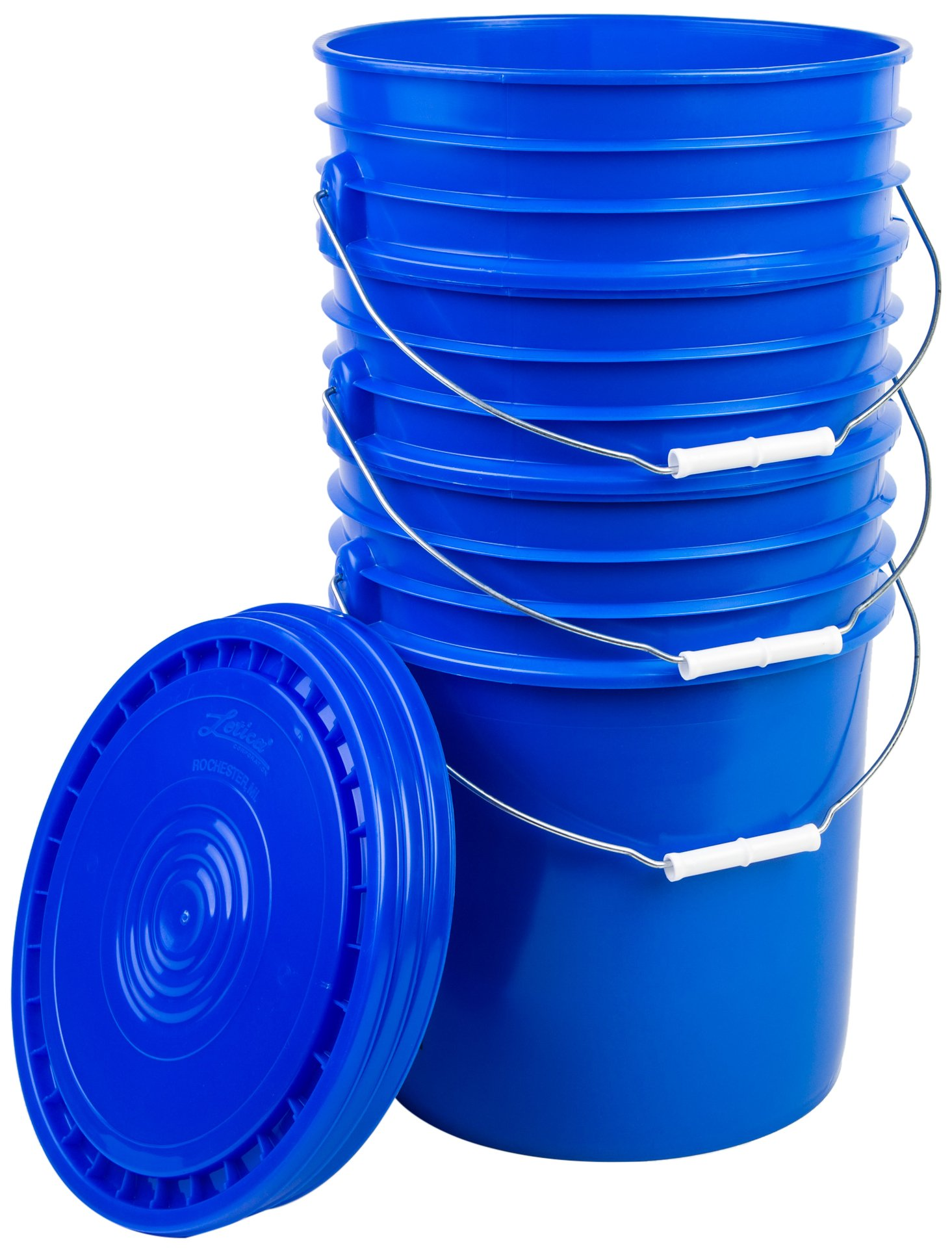 Hudson Exchange Premium 5 Gallon Bucket with Lid, HDPE, Blue, 3 Pack