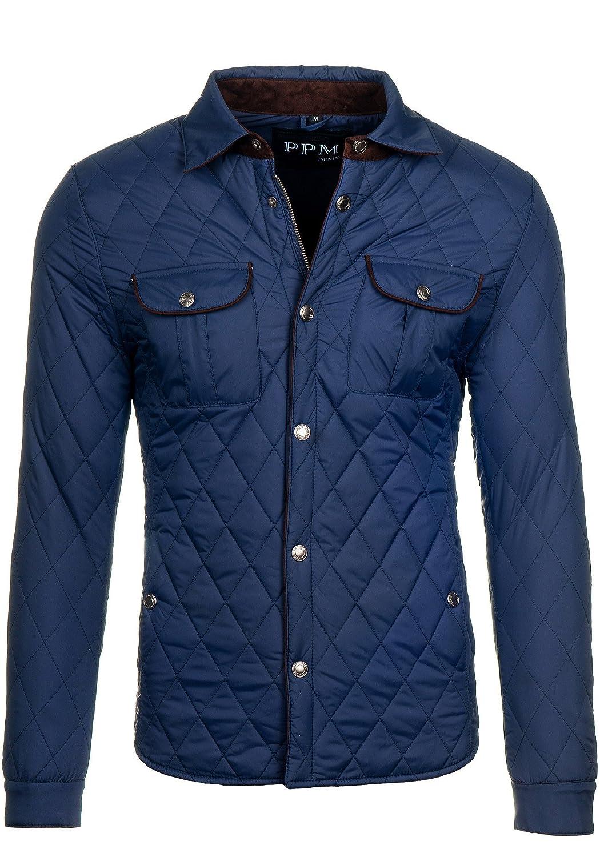 PPM 010 Dunkelblau XL [4D4] Herren Sweatjacke Jacke Übergangsjacke Casual Elegant Slim Fit