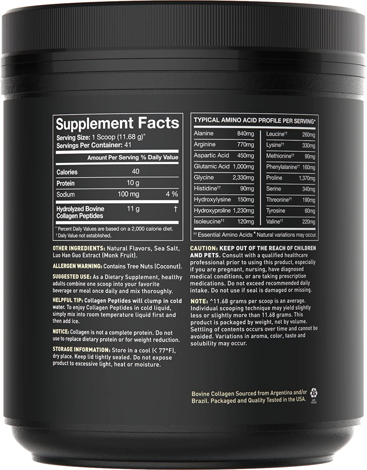 Collagen Peptides Powder 41 Servings  The Only NonGMO Verified Hydrolyzed Collagen Peptides Brand