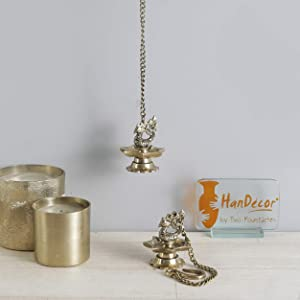 Two Moustaches Brass Peacock Carved Hanging Diya Set