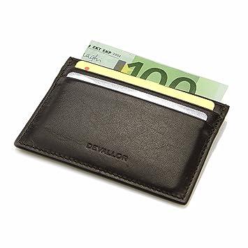 fc0a9741d54fd3 DEVALLOR® Flaches Kreditkartenetui aus italienischem Echtleder, Kleine  Dünne Geldbörse Portemonnaie, braun