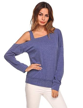 20bab77e6d7 Zeagoo Women One Shoulder Shirts Long Sleeve Casual Loose Blouse Top (Blue