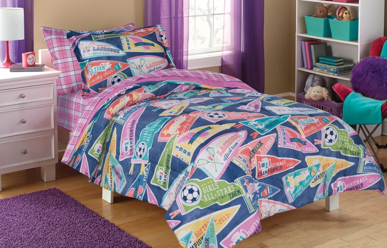 Charming,Super Soft and Comfortable Mainstays Kids All Star Bed in a Bag Bedding Set,Color Tones of Teal,Pink,Yellow,Coral and Green,Perfect For Your Sports Enthusiast's Room,Twin