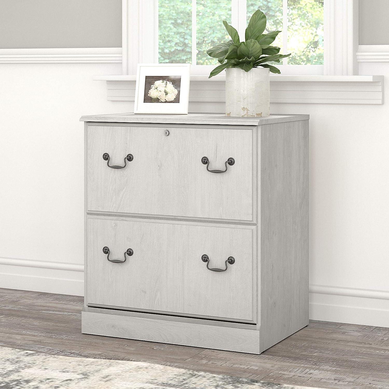 Linen White Oak Bush Furniture Saratoga 2 Drawer Lateral File Cabinet