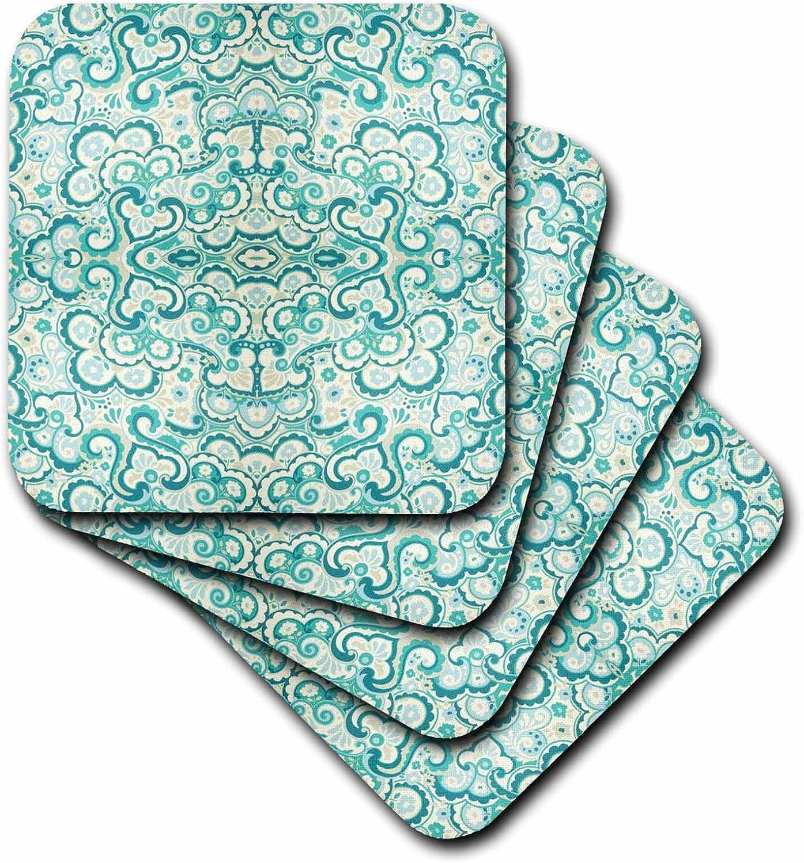 3drose Cst 80652 3 Teal N Taupe Damask Ceramic Tile Coasters Set Of 4 Home Kitchen