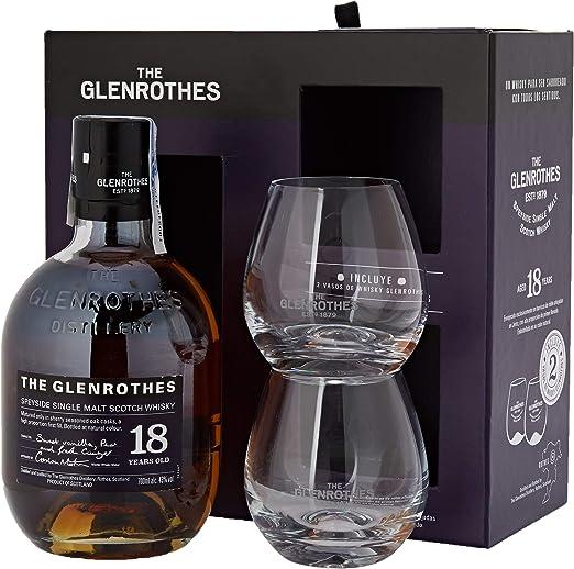 The Glenrothes 18 años Single Malt Whisky Escocés 43% + Pack Regalo 2 Vasos - 700 ml
