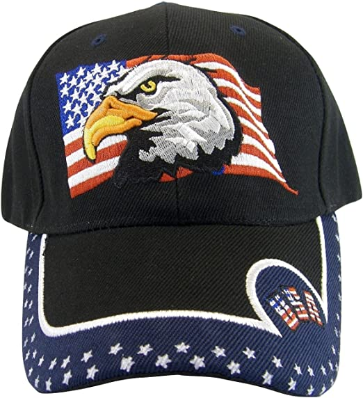 Mens Hat USA American Flag Eagle with Stars and Stripes embroidered Baseball cap