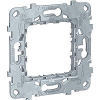 Schneider Electric NU7002 New Unica, Bastidor Universal Zamak de Empotrar, 2 Módulos, Fijación de Marco de Interruptor…