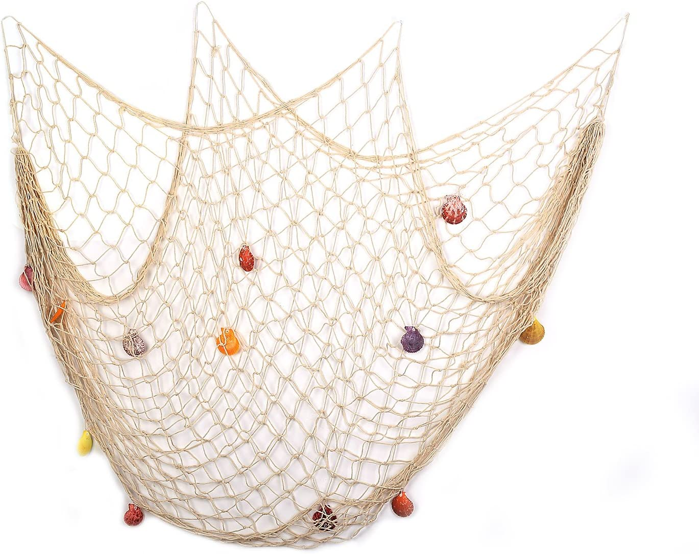 Yagote 79inch x 59inch Decorative Fish Net with Shells White Mediterranean Style Nautical Decorative Fishing Net Hanging Home Decor Room Decoration(79x59inch White)