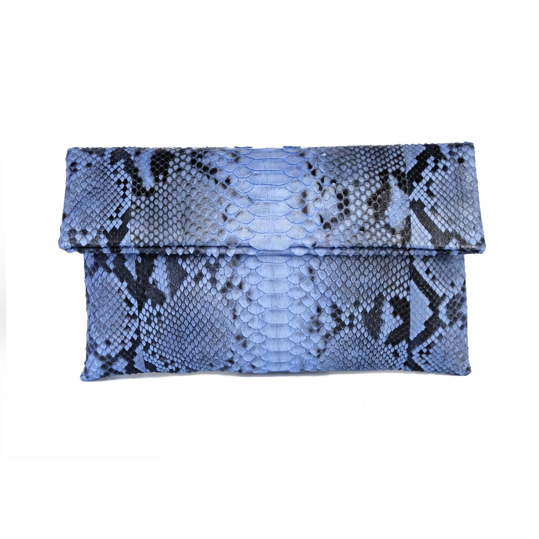 Genuine Light Blue Motif Python Leather Classic Foldover Clutch Bag