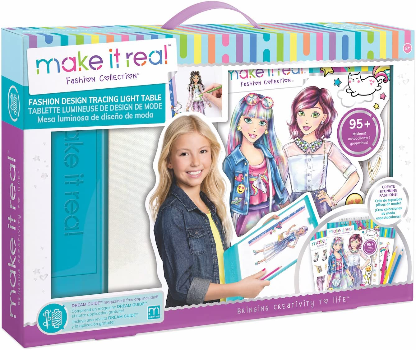 Make It Real - Fashion Design Mega Set with Light Table. Kids Fashion Design Kit Includes Light Table, Colored Pencils, Sketchbook, Stencils, Stickers, Design Guide and More