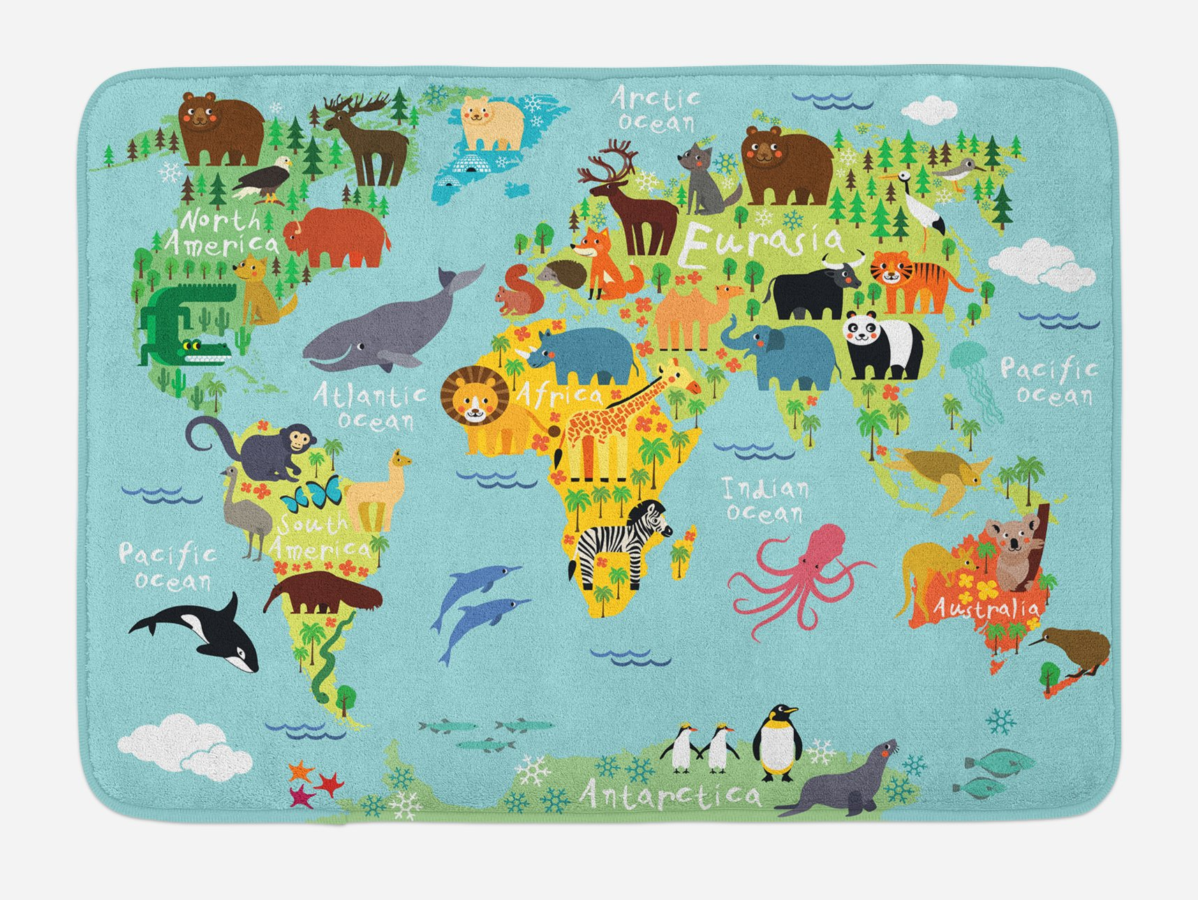 Ambesonne Wanderlust Bath Mat, Animal Map of The World for Children Kids Cartoon Mountains Forests, Plush Bathroom Decor Mat with Non Slip Backing, 29.5 W X 17.5 W Inches, Pale Blue Yellow Green