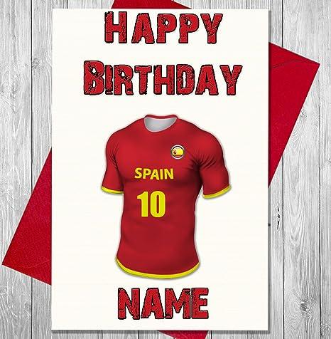 Tarjeta de cumpleaños de camiseta de fútbol de España. Personalizable: Amazon.es: Hogar