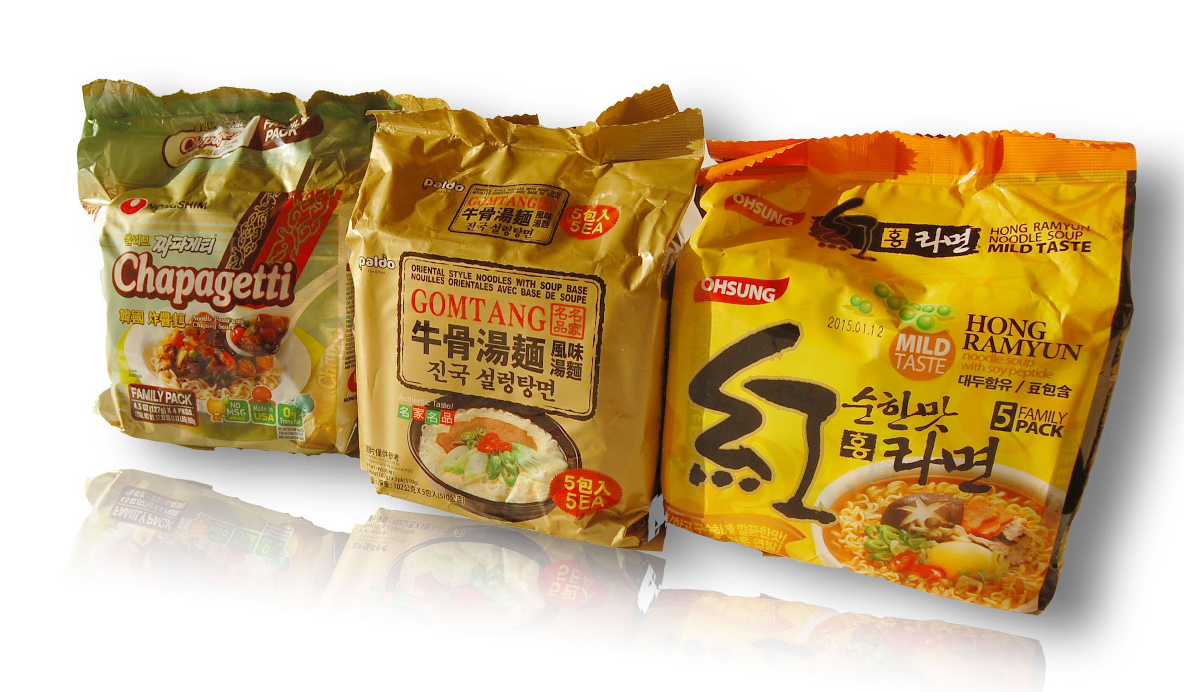 Ramen Variety Hong Ramyun Noodle Soup with Soy Mild Taste 5 Family Pack + Paldo Gomtang Oriental Style Noodles with Soup Base 5 Family Packages + Nongshim Chapagetti Noodle Pasta with Chajang Sauce 127g x 4 Packages (14-packs)
