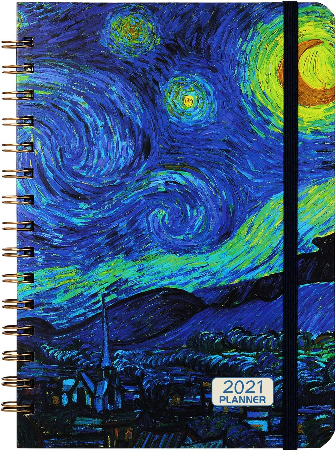 Elastic Closure Diary 2021 with Flexible Hardcover Inner Pocket 2021 Diary A5 Week to View 12 Monthly Tabs Strong Twin- Wire Binding