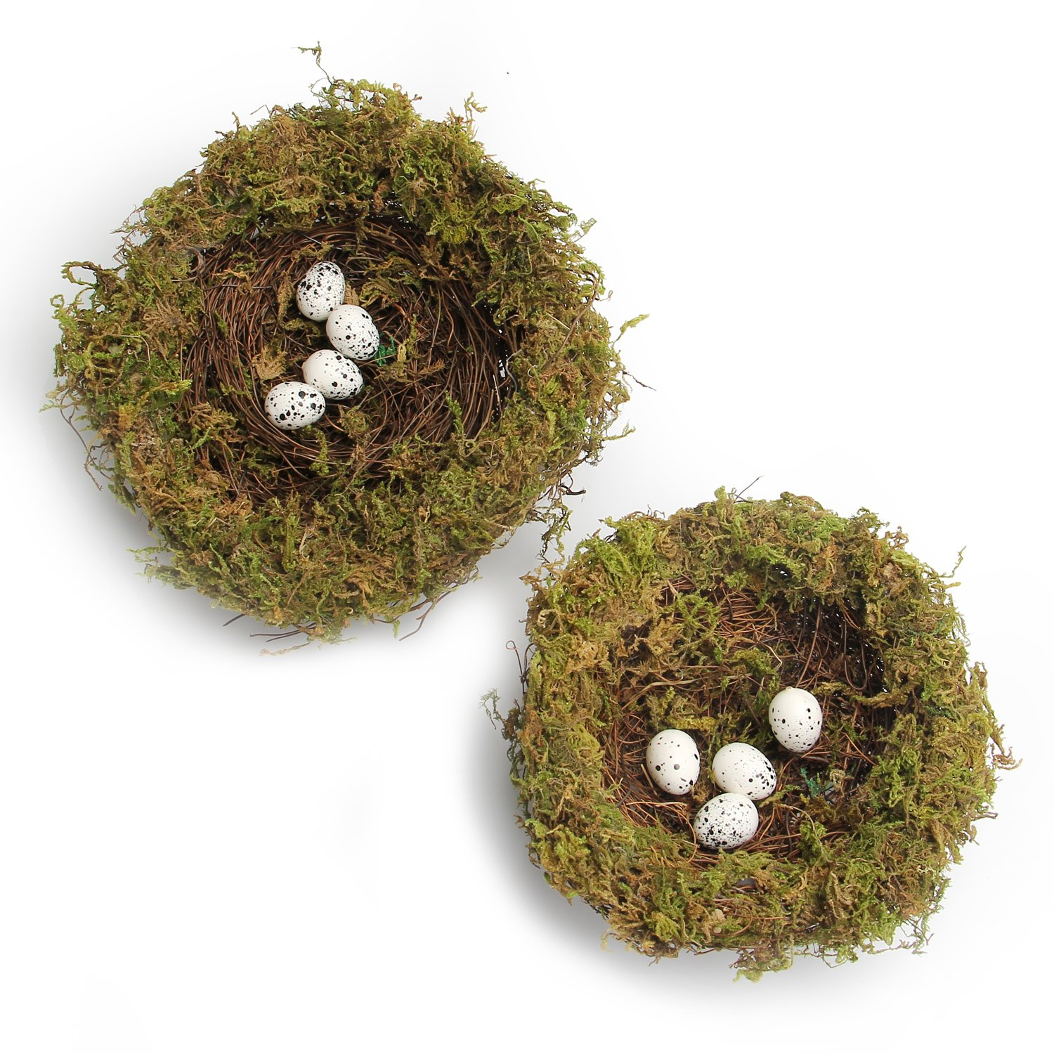 MomokoPeng Set of 2 Spring Bird Nests With Eggs,Twig Bird Nest Decorative Ornament With Clip(Green Bird's Nest)