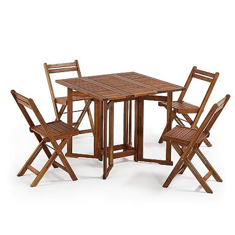 Kave Home Set Gustave de Mesa y 4 sillas Plegables: Amazon ...