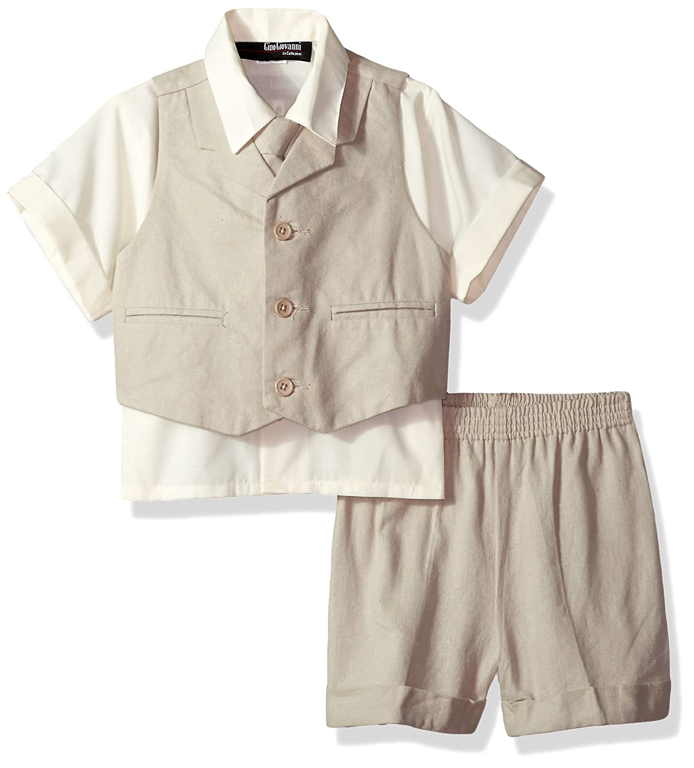 Gino Giovanni Baby and Toddler Boy Summer Cotton//Linen Blend Suit Vest Short Set