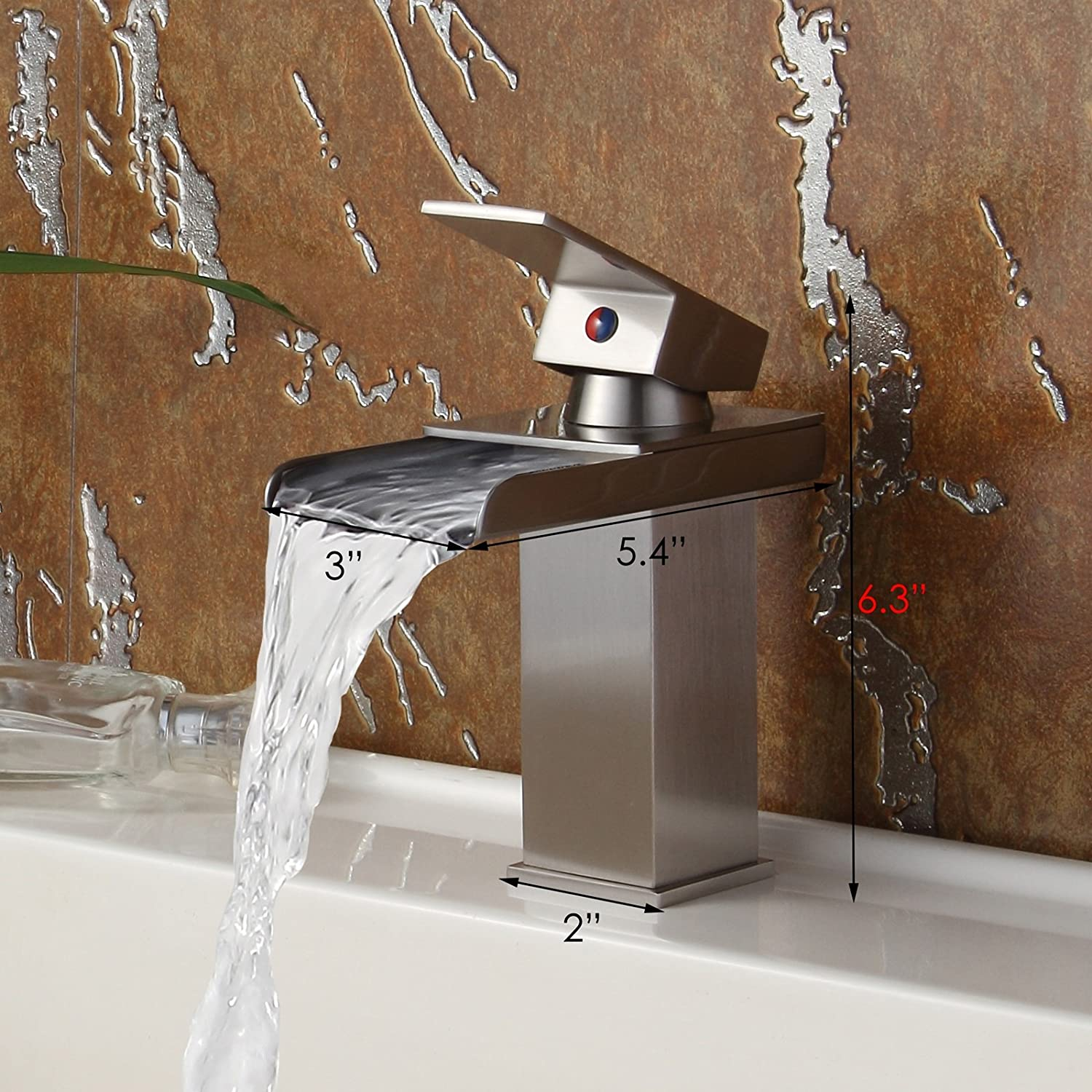 Single Handle Bathroom Sink Waterfall Faucet Finish: Brushed Nickel ...