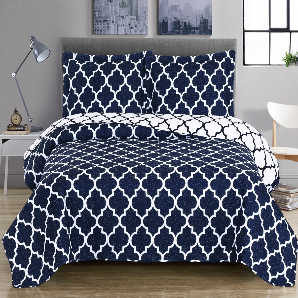 Meridian- Navy with White- King/Cal king Size, Over-Sized Quilt 3pc set, Luxury Microfiber Printed Coverlet