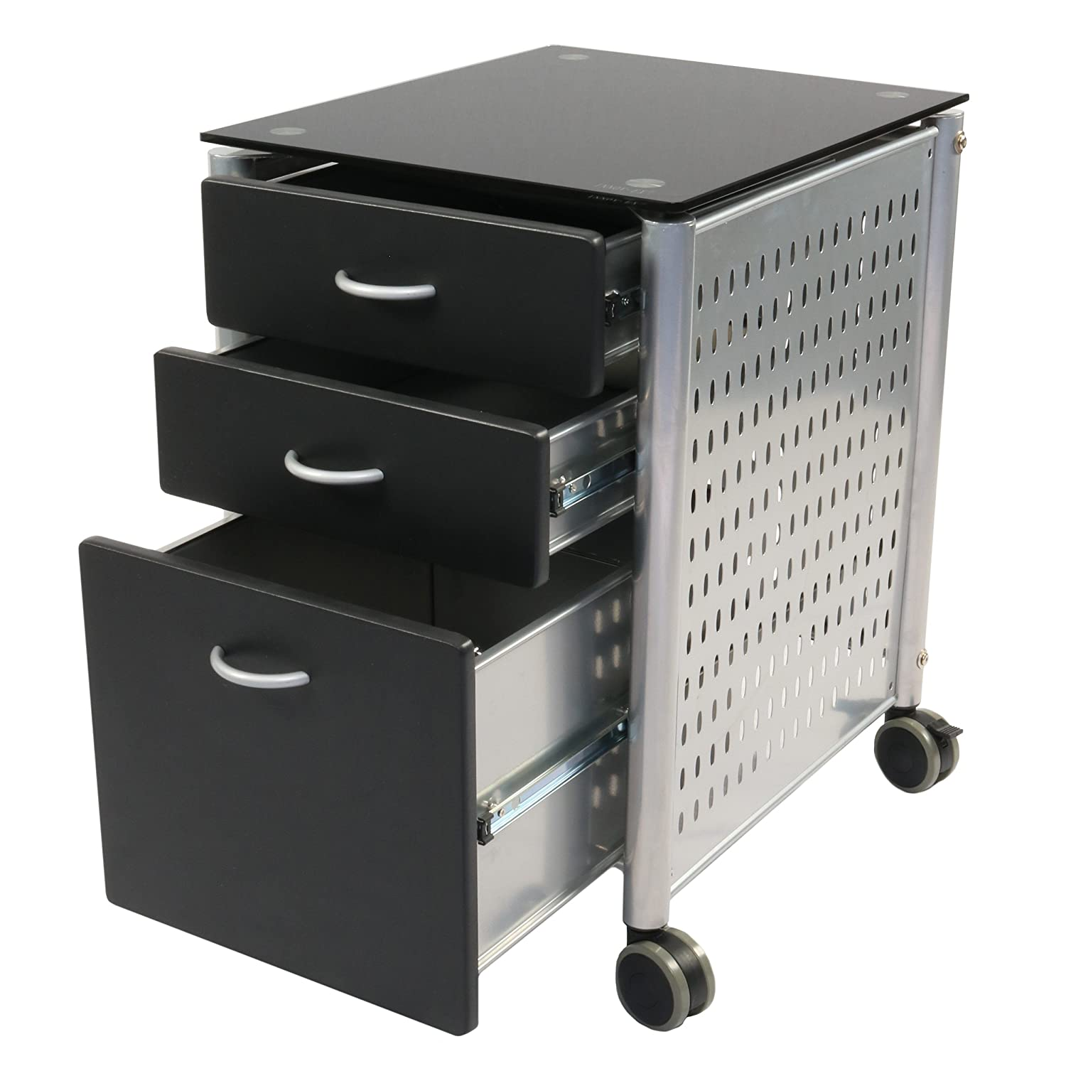 Innovex SKG02G29 Archive mobile glass top metal filing cabinet with 3 storage drawers and locking caster wheels, black