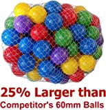 """My Balls Pack of 50 Large 2.5"""" 65mm Ball Pit Balls - 5 Bright Colors; Crush-Proof Air-Filled; Phthalate Free; BPA Free; non-Toxic; non-PVC; non-Recycled Plastic"""