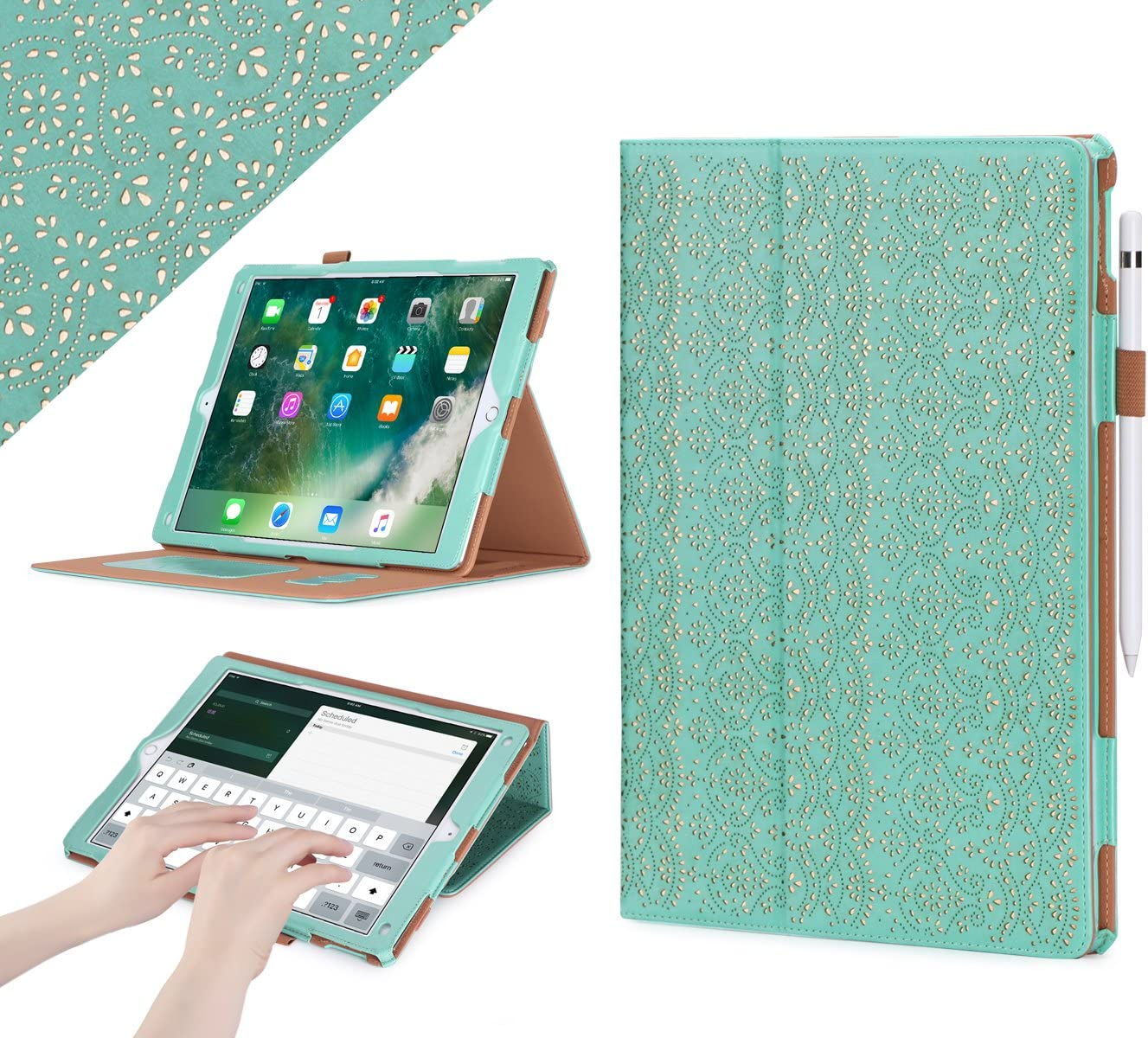 iPad Pro 12.9 (Compatible with 2017 and 2015 Model) Case, WWW [Luxury Laser Flower] Premium PU Leather Case Protective Cover with Auto Wake/Sleep Feature for iPad Pro 12.9 (Both 2017 and 2015) Green