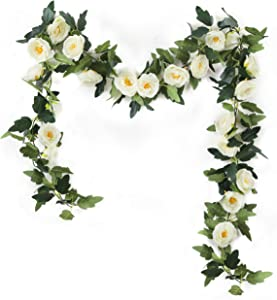 Nanhiking Fake Silk Rose Garland 2 Pack White Artificial Vine with Flowers for Outdoor Wedding Arch Bedroom Kitchen Wall Garden Decor (MD-White, 2)
