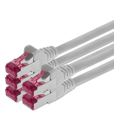 0,25m - blanc - 5 pièces - CAT6a Câble Ethernet Set - Câble Réseau RJ45 | 10 / 100 / 1000/ 10000 Mo/s | câble de Patch | LAN Câble | CAT 6a | S-FTP | double blindage | PIMF | 500 MHz | sa