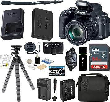 Canon Powershot SX70 20.3MP Digital Camera 65x Optical Zoom Lens 4K Video 3-inch LCD Tilt Screen Essential Accessories Bundle Black