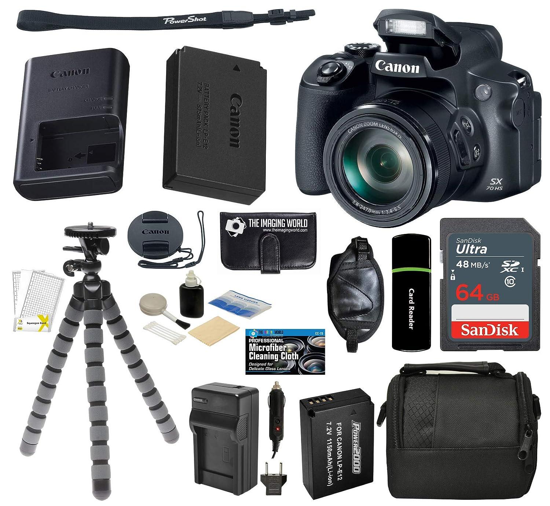 キヤノン PowerShot SX70 HSデジタルカメラ 20MP 65倍光学ズーム UHD 4Kビデオ Wi-Fi & Bluetooth + 64GBカード + 予備バッテリー & 充電器 + グリップ + 三脚 - アクセサリー一式セット   B07LGCSC34
