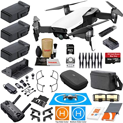 c8354bed784 Amazon.com: DJI Mavic Air Fly More Combo (Arctic White) With 3 Batteries,  4K Camera Gimbal Bundle Kit with Must Have Accessories: Electronics