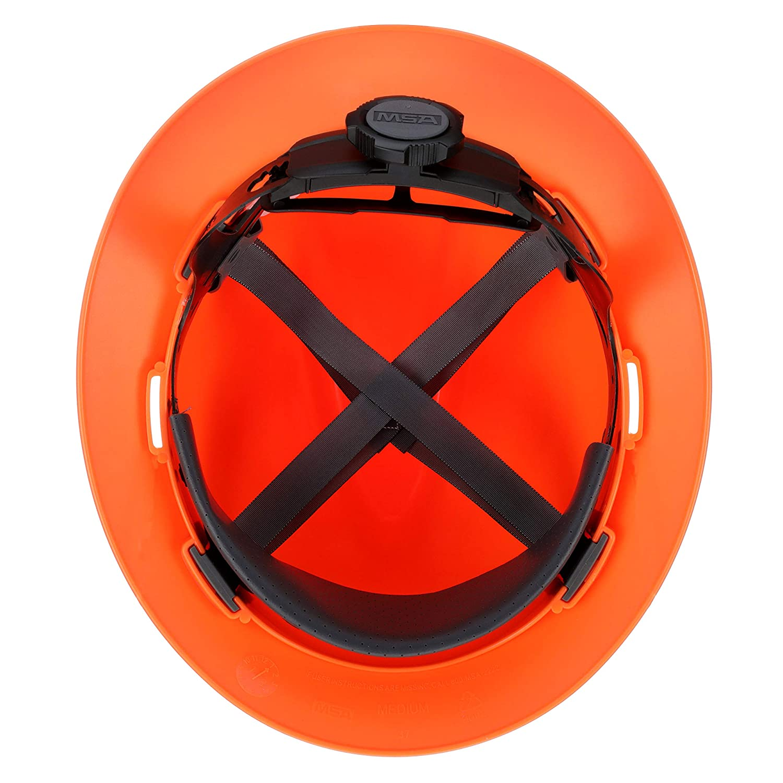 MSA 10021292 Polyethylene V-Gard Protective Hat with Fas-Trac Suspension Hi-Viz Orange