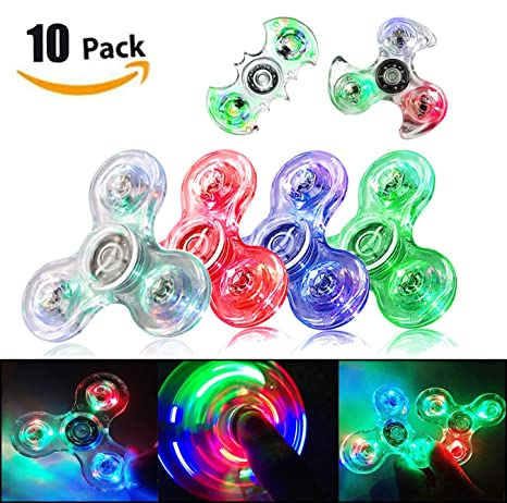 FIGROL LED Fidget Spinner Clear Toy Crystal Led Light Rainbow Finger Hand