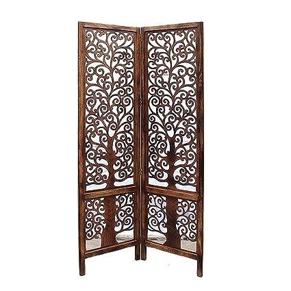 Pleasing Artesia Handcrafted 2 Panel Brown Wooden Room Partition Divider Interior Design Ideas Tzicisoteloinfo
