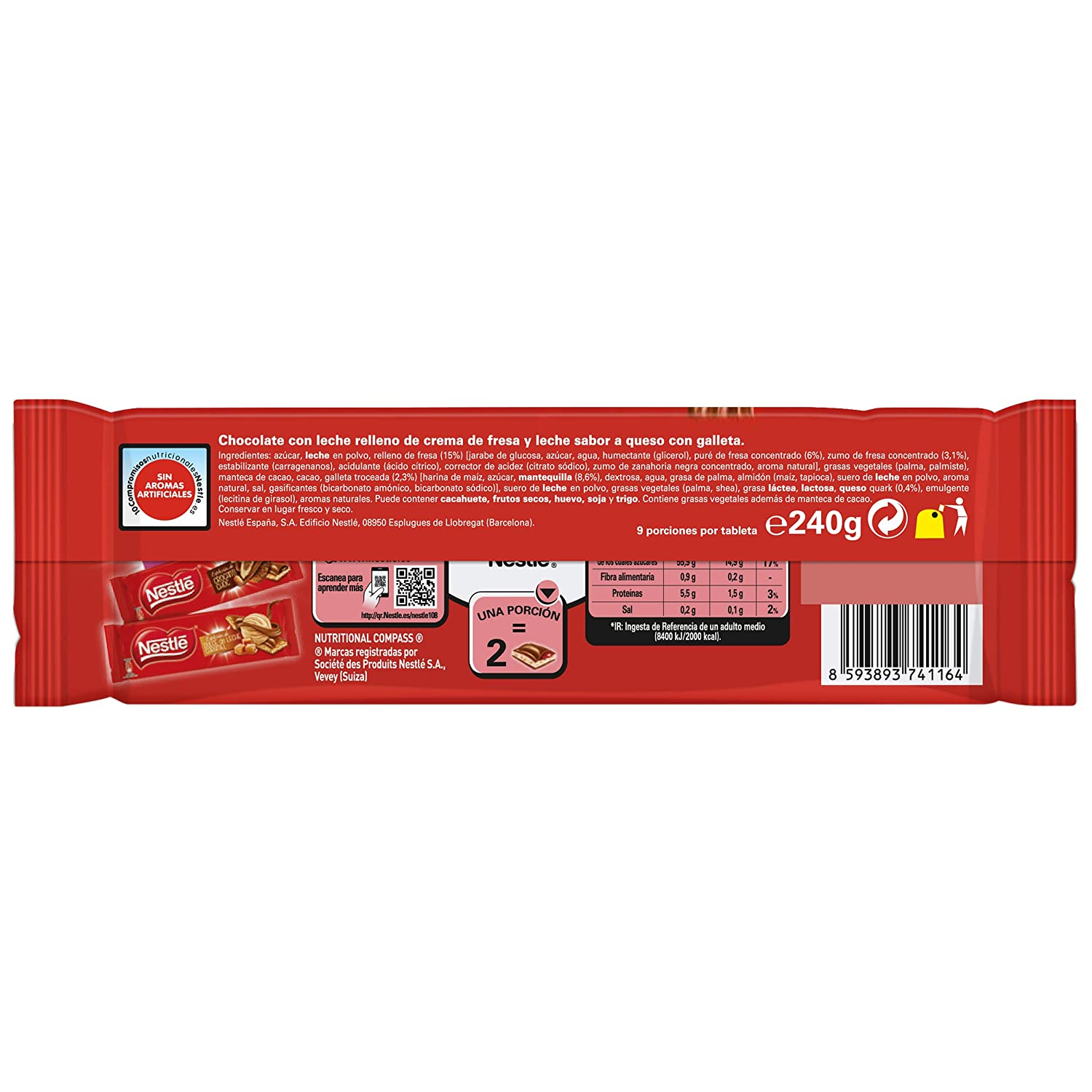 Nestlé Extrafino Strawberry Cheesecake - Tableta de Chocolate 240 gr ...