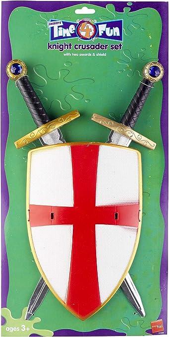 Knight Crusader Set, dos espadas y un escudo (accesorio de disfraz): Amazon.es: Juguetes y juegos