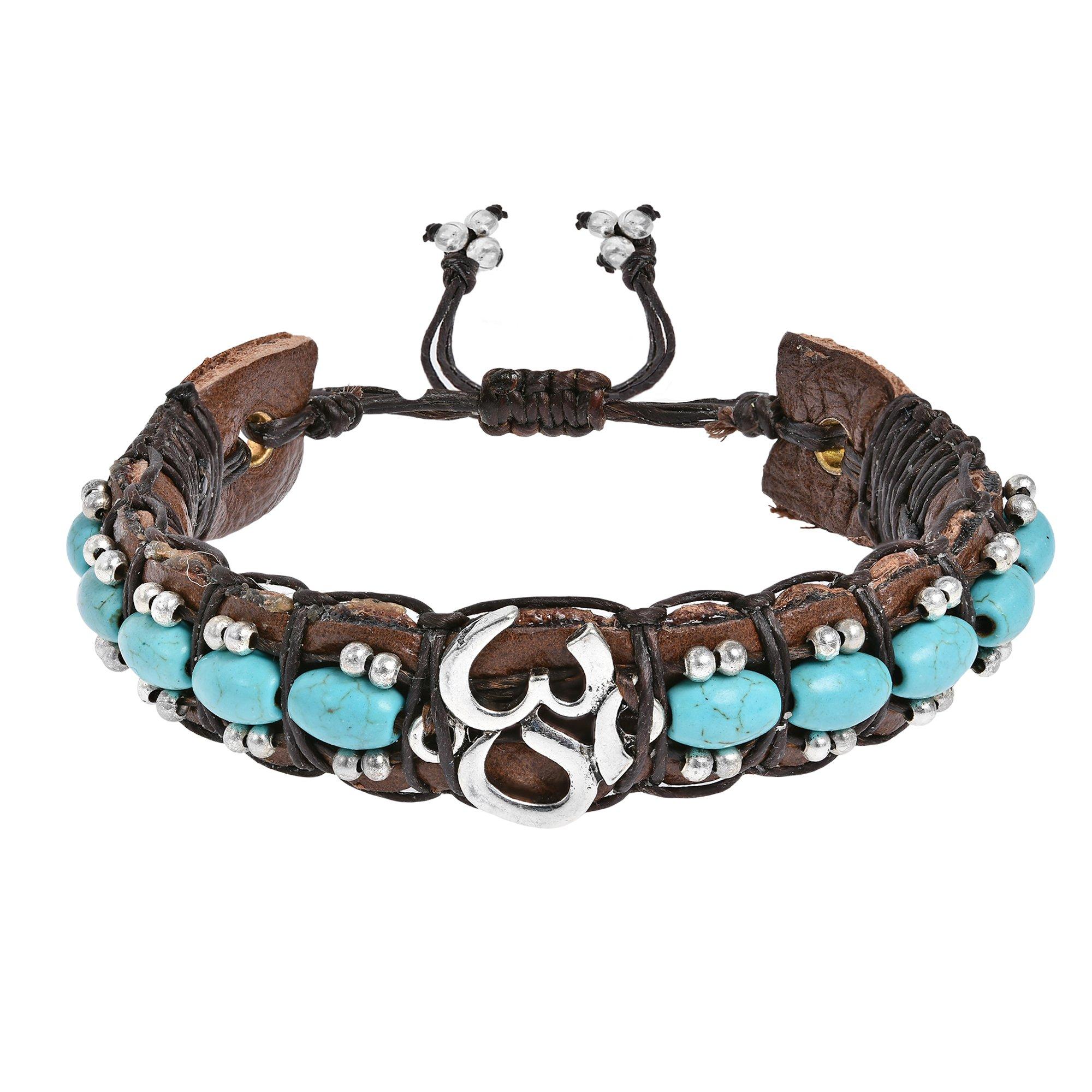 AeraVida Inspirational Aum or Ohm Simulated Turquoise Rolls Leather Adjustable Wrist Pull Bracelet