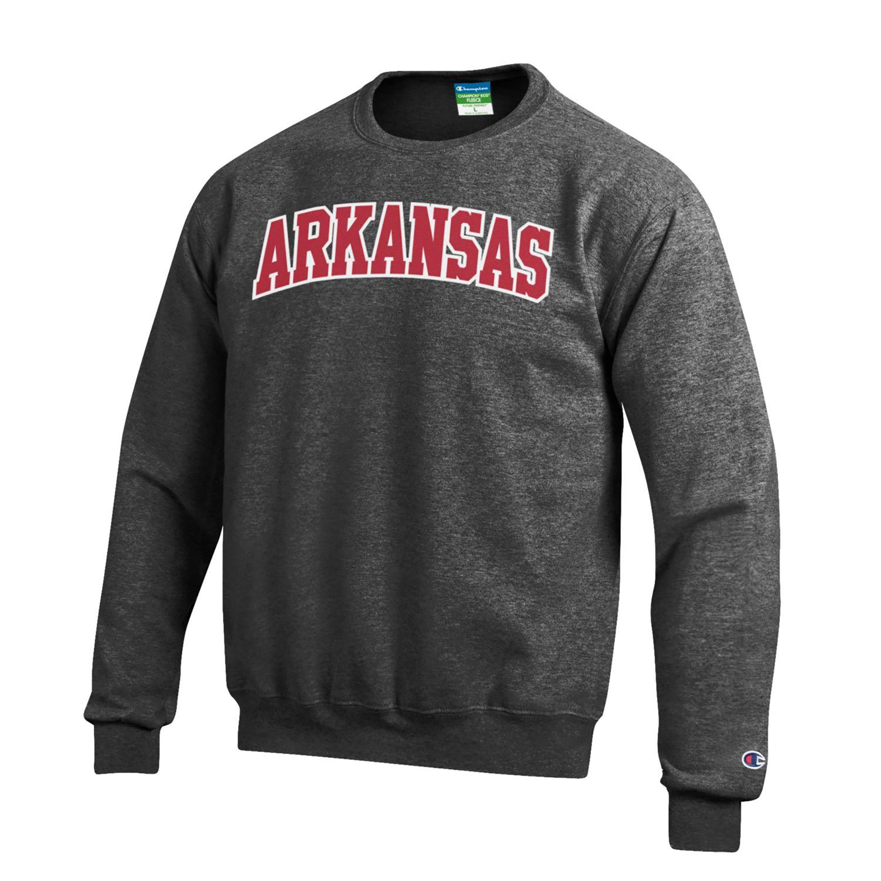 Champion NCAA Arkansas Razorbacks Men's Eco Power Blend Crew Neck Sweat Shirt, Small, Gray