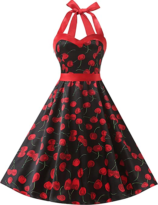 TALLA XS. Dresstells® Halter 50s Rockabilly Polka Dots Audrey Dress Retro Cocktail Dress Cherry Black XS