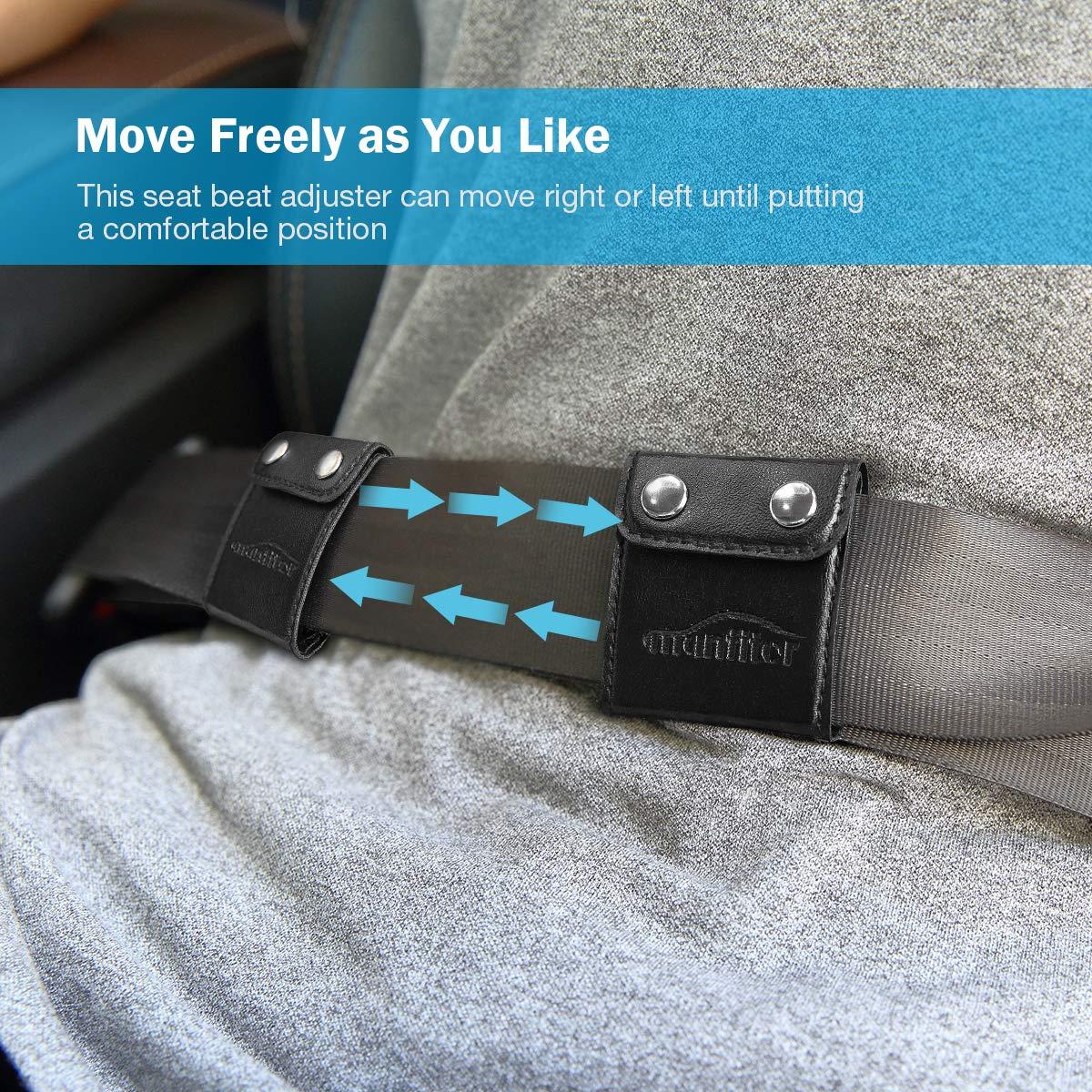 2 pack, black Comfortable Universal Vehicle Auto Seat Belt Shoulder Neck Strap Positioner Locking Clips with PU Leather for Toddler Baby Kids Adults Manfiter Seatbelt Adjuster