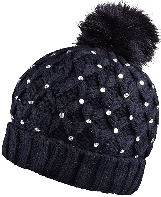 2441316b7a6 Fashion Headwear Black Women Knit Pompom Beanie With Bling Rhinestones Faux  Fur Pom Pom Hat at Amazon Women s Clothing store