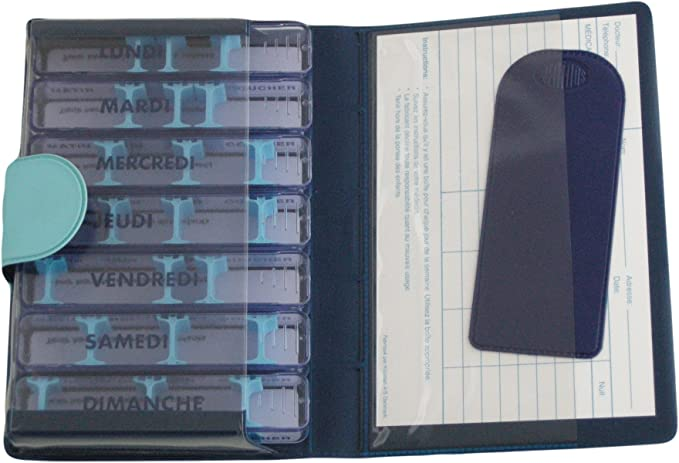Pastillero semanal, medidos – Soft, Azul Claro/Oscuro, francés, en estuche de bolsillo, individuales 7 días, 28 compartimentos modulables), para medicamentos poco) impermeables. Etui sólido, rígida, material sintético mate, dulce y agréable tacto.