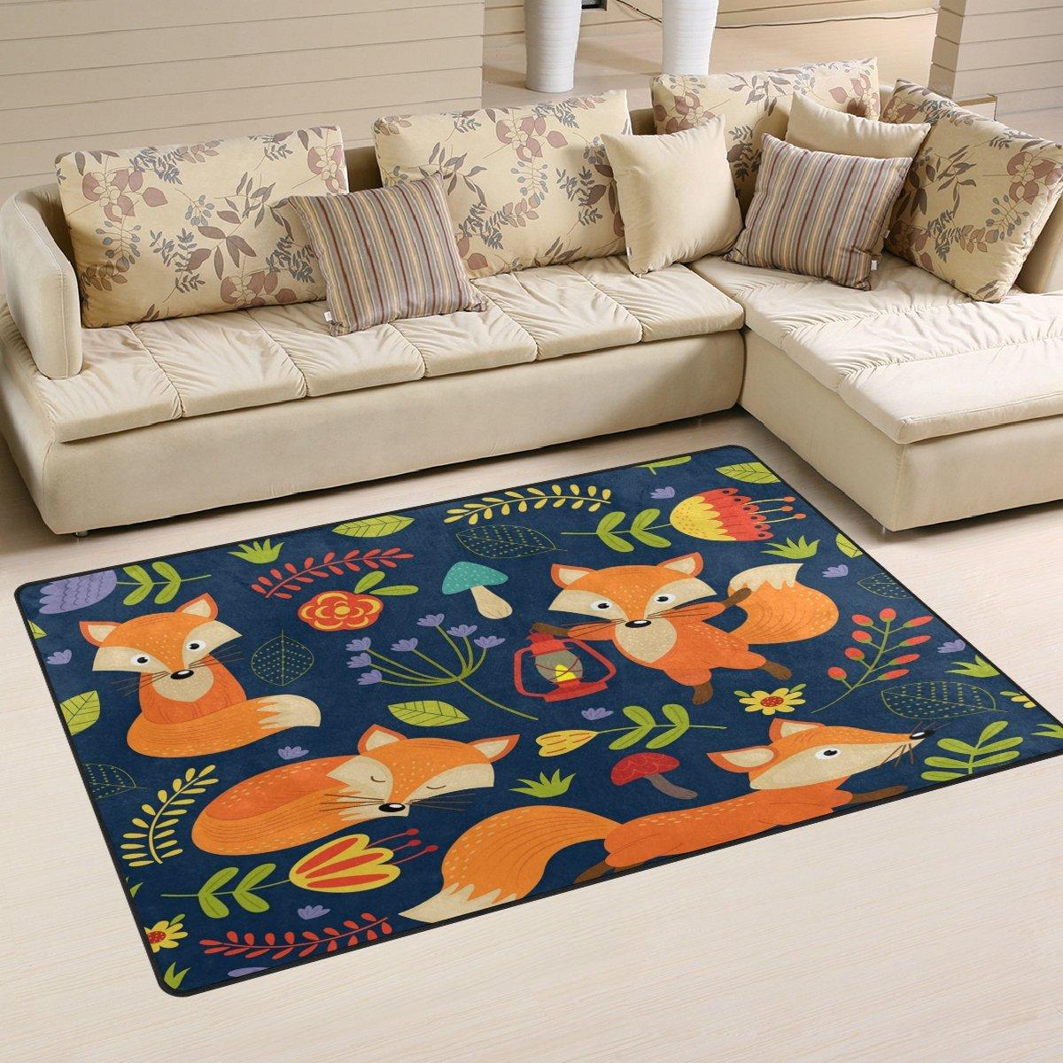 WOZO Fox Flower Animal Forest Area Rug Rugs Non-Slip Floor Mat Doormats Living Room Bedroom 31 x 20 inches g2489238p146c161s240