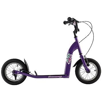 Ultrasport Patinete infantil para niñas, neumáticos extra anchos de 12 pulgadas, cuadro de acero, freno de mano para la rueda delantera y trasera, a ...