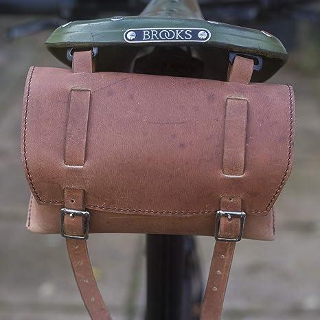 Piel auténtica caja de bolsa de sillín/manillar antiguo marrón ...