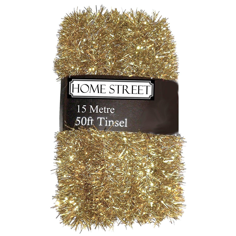 Homestreet Extra Lungo, 15 Metre, 15,2 m, Molto Lungo Tinsel in Una Scelta di Rosso, Argento o Oro Decorazione di Natale (Oro) 15Metre 2m Homestreet®