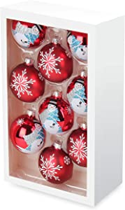 Costyleen Christmas Decoration Colorful Glass Balls Ornaments Set Festival Home Party Decors Xmas Tree Hanging Pendant Snowman Snowflake Fireworks Printing 9pc Red White 2.7in