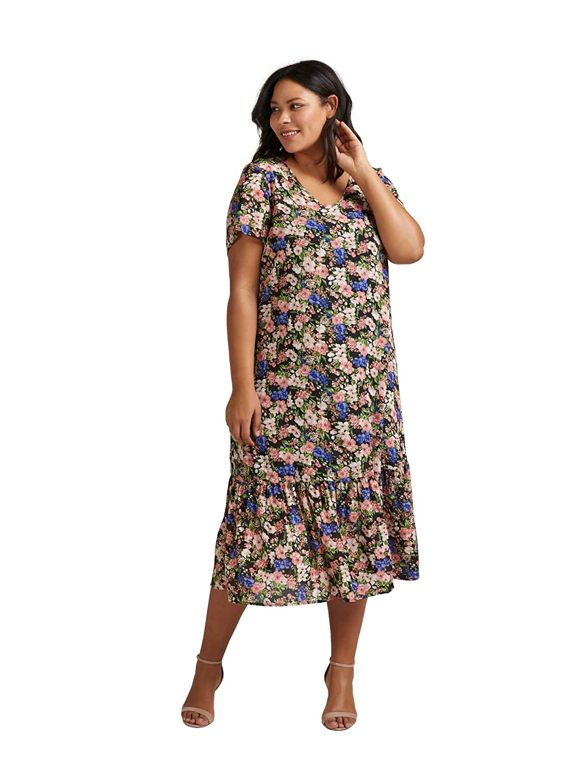 Zizzi Damen Große Größen Maxikleid Kurzarm Kleid Blumenmuster Sommerkleid 42-56